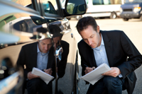 Car accident lawyer in Reno, NV investigating an accident