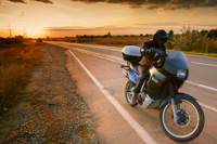 Picture of a sunset motorcycle ride